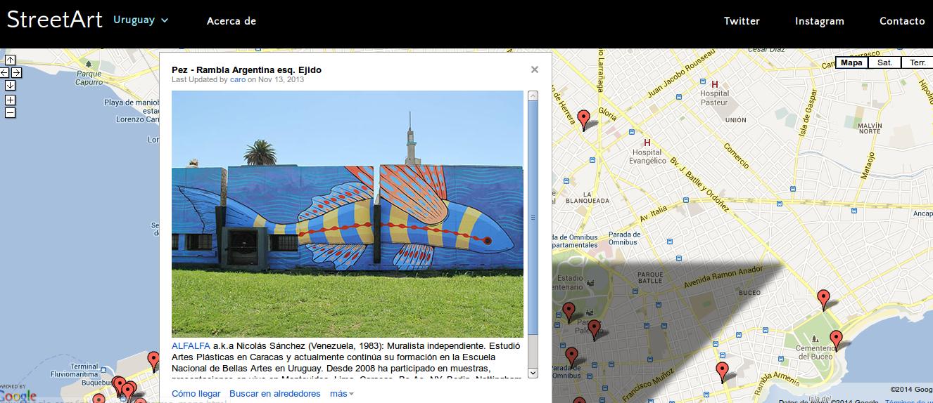 Street Art Uruguay, con una foto geolocalizada del artista callejero Alfalfa.