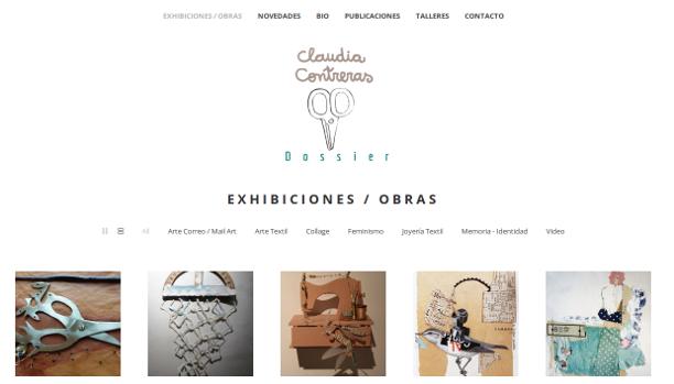 Captura de pantalla de la web de artista de Claudia Contreras.