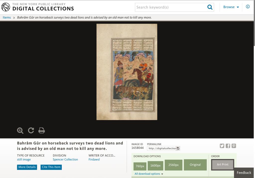 La aplicación web de la NYPL para explorar su colección de dominio público, vía Genbeta.
