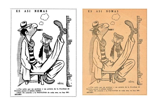 """""""Es así nomás"""", de Julio E. Suárez (Peloduro). Comparación entre imagen vectorial (izquierda) y mapa de bits (derecha)."""